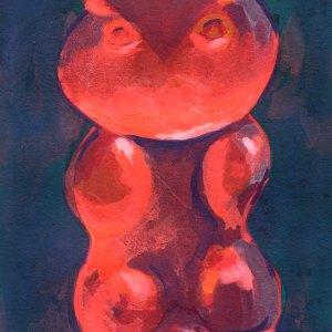 Gummy Owl Bear in the Dark