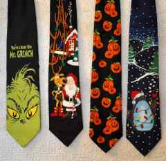 Grinch, Santa, Halloween, Penguin ties