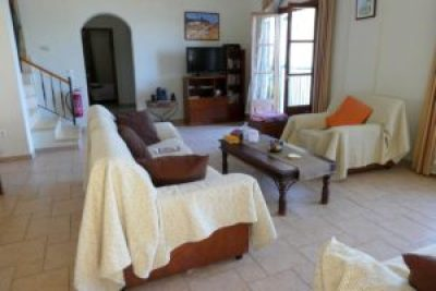 Villa Andonis -- View of living room from entry doorway.