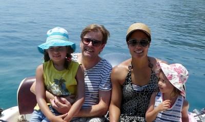 Trip - Lola, David, Ivy and Cara in Nissaki Harbor.