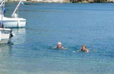 Helen and Tricia in the swim of things