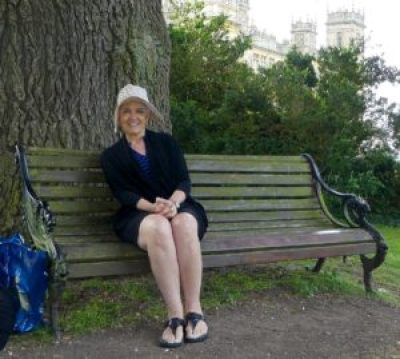 """Trip - Kathy on """"the bench"""" at Highclere Castle"""