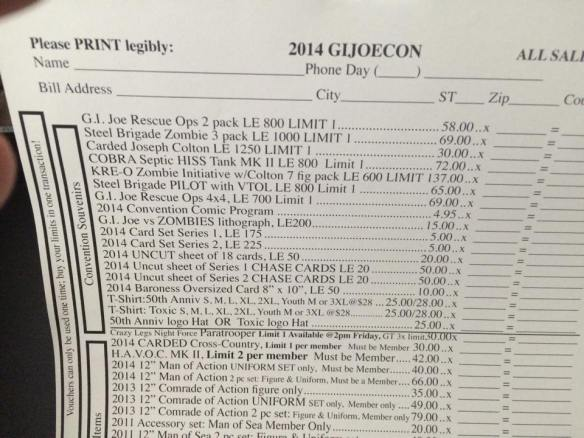 Joe Con 2014 souvenir price list