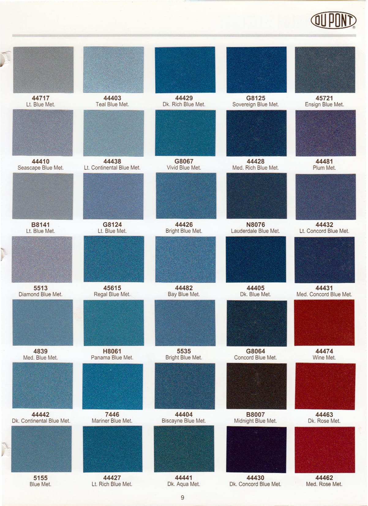 Elite paint color chart dupont elite paint color chart nvjuhfo Choice Image