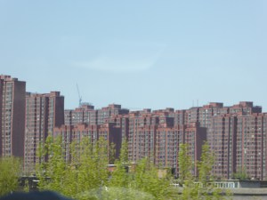 one of the many housing clusters on the road into Beijing from the port