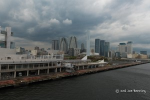 Tokyo as seen from the pier on a cloudy day