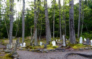 "The Gold Mine Cemetery in Skagway, at the start of the trail to the Yukon gold fields. ""Soapy Smith"" is buried here, away from the rest of the crowd, as he ran several scams on the locals before he was killed in a duel. The gent who shot him in the duel is also buried here, in a place of honor (the shooter died 11 days after Soapy died). Many of the tombstones bear the same date of death, due to an avalanche that killed a number of people."