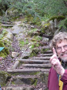 Our tour guide shows us the start of the Chilkoot Trail to the Yukon - pretty steep, narrow and slippery looking