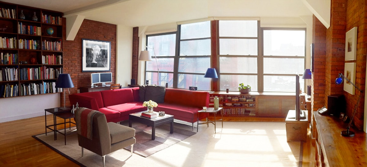 New York Interior Design NYC Joe Cangelosi West Village Loft Living Room Panorama