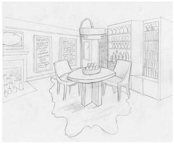 Interior Design New York NYC Joe Cangelosi UWS 1 Bedroom Dining Room Sketch