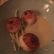 pan-seared scallops, oyster chowder, potato, paddlefish roe