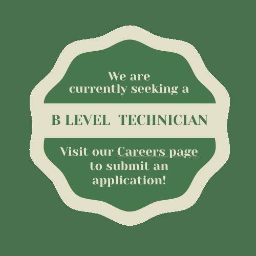 hiring b level technicians.  Click for info