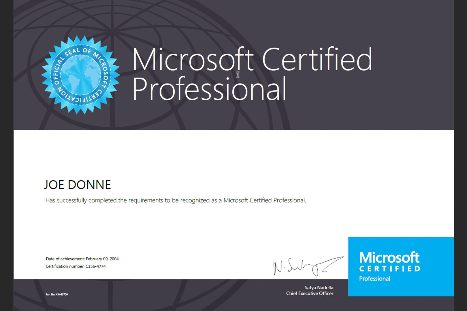 Microsoft Certified Professional - Joe Donne