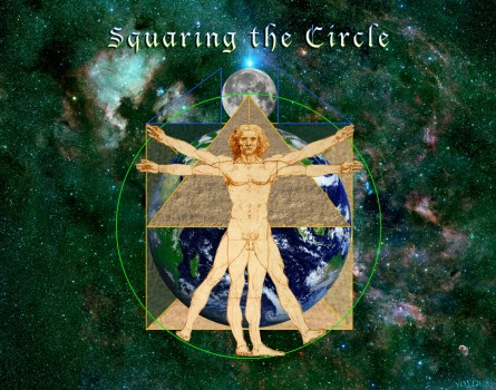 VItruvian Man Square Circle Green
