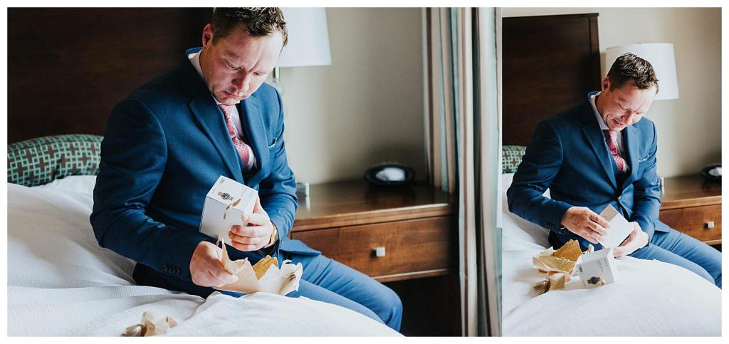 Groom opening a gift from his soon to be bride | The Special Events Centre