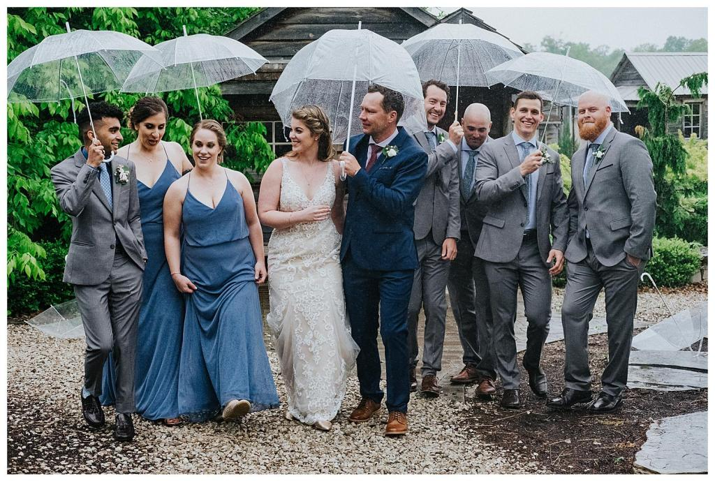 Bridal party wedding day crew | Rainy wedding photo ideas | Hanover Wedding