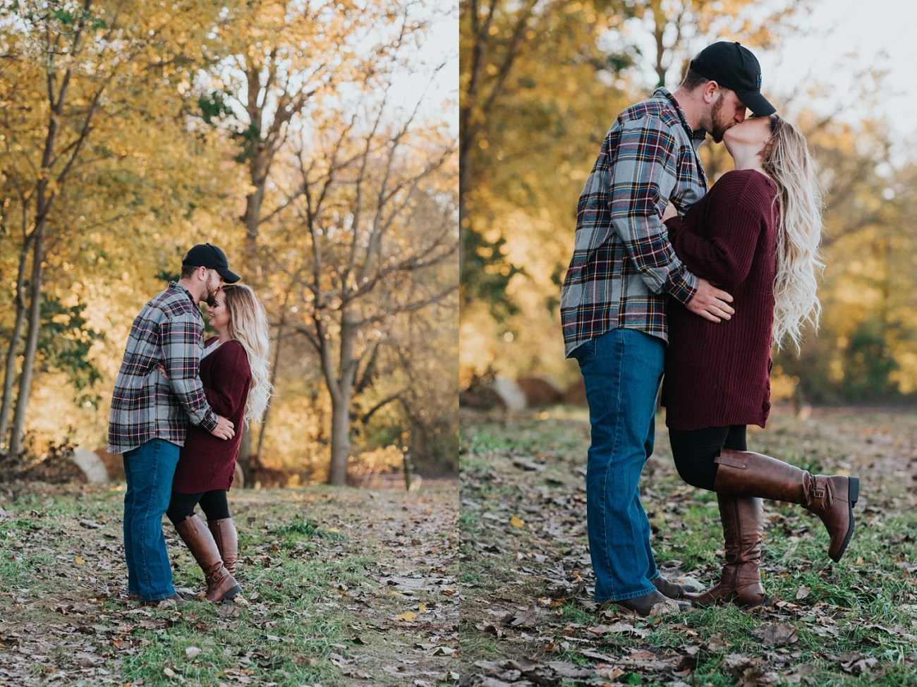 Couple kissing on a farm in fall for engagement photos in Waterford