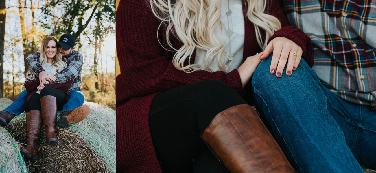 Hay bales are perfect for sitting on | couples posing inspo | fall engagement session | Waterford