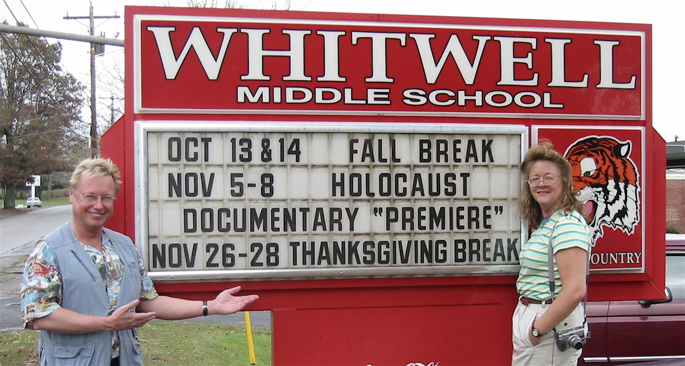 hight resolution of joe fab and editor julia dixon eddy arrive at the whitwell middle school