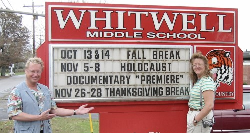 small resolution of joe fab and editor julia dixon eddy arrive at the whitwell middle school