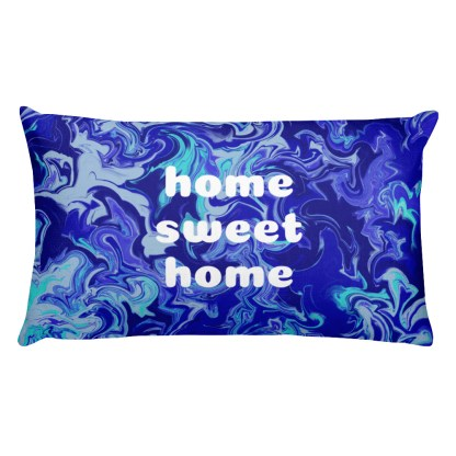 blue home sweet home premium pillow