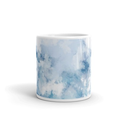light blue watercolor mug