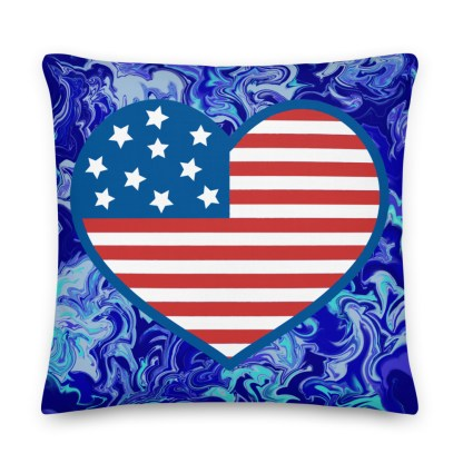 Blue American Flag Heart Pillow