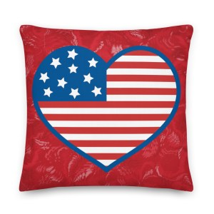 Red American Flag Heart Pillow