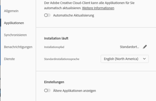 Premiere Pro auf Englisch umstellen - in der Adobe Creative Cloud Anwendung