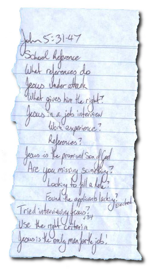 The notes I preached this sermon from