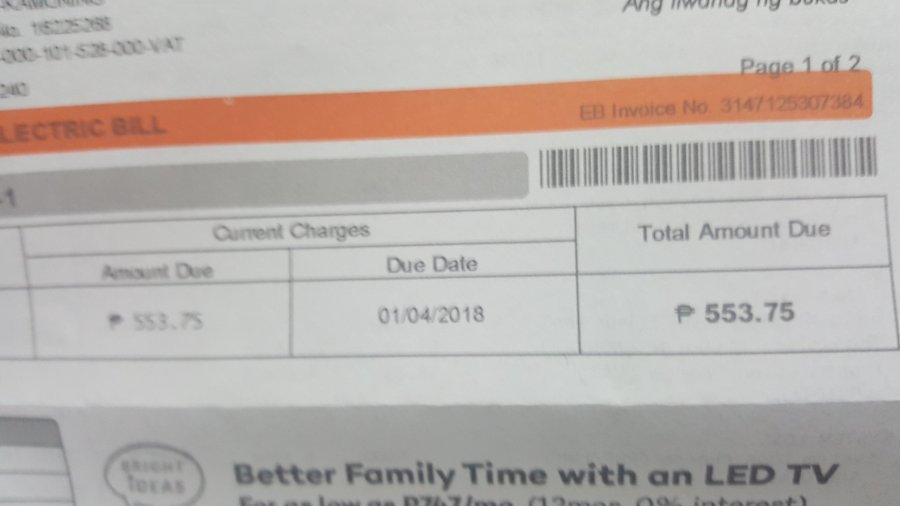 Meralco Bill of Joel Andrada
