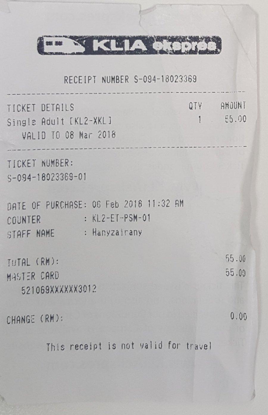 KLIA Express Train One Way Ticket costs MYR 55.00
