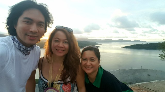 Me in awe of the scenic view at the Caluya Shrine in Sapang Dalaga with Cindy LaRosa and RD May Salvana-Unchuan