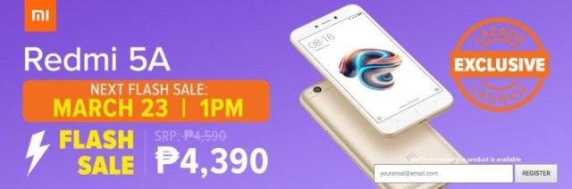 Redmi 5A Flash Sale March 23