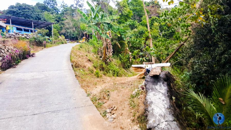 Paved narrow road from the trail head of Tangadan Falls to the jumping-off point