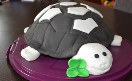 gâteau 3D tortue en pâte à sucre