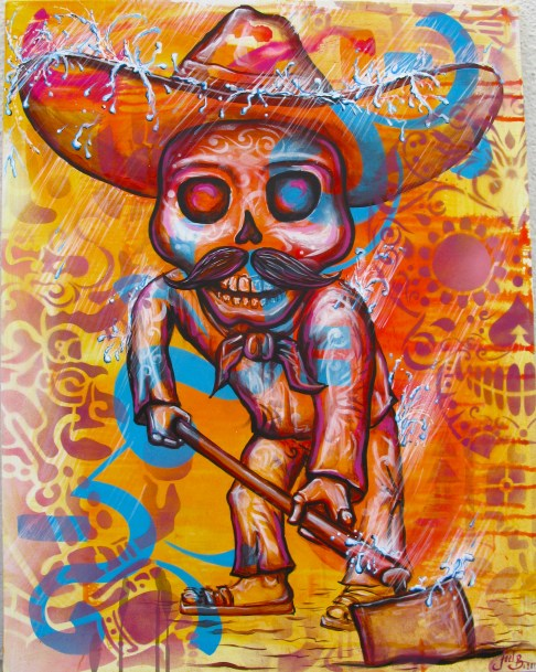 """""""El Esqueleto"""" 2012. Acrylic and spray paint on canvas. 18″ x 32″ painted in Mexico City. Commissioned by the organization IRRI (Istituto Internacional de Recursos Renovables)"""