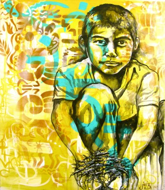 """""""Benito"""" 2012. Acrylic and spray paint on canvas. 16″ x 28″ painted in Mexico City. Commissioned by the organization IRRI (Istituto Internacional de Recursos Renovables)"""
