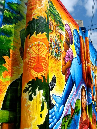 """detail of the telephone pole: """"Global Refugee Mural"""""""