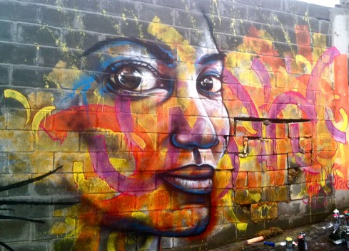 "Rio de Janeiro, Brazil 2013: One of Joel's many contributions to graffiti/ street art festivals in Brazil, ""Karlinha"" was created for Latin America's largest of such events, MOF (Meeting of Favelas)."