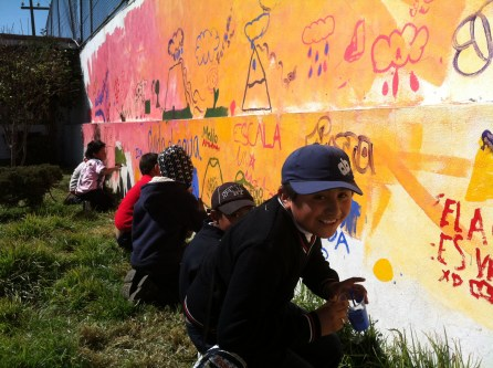 Students at a Mexico City school explore the issue of water preservation through this mural.