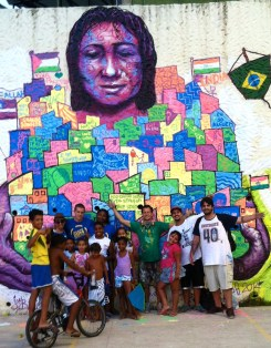 Rio de Janeiro, 2014: A motherly embrace of the community: Vidigal, with each house featuring the work of the local and international participants for the Street Child World Cup.