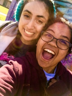 Clarissa and Perla, UC Merced students and mural assistant artists