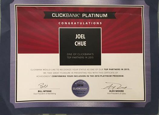 Clickbank Platinum Certificate