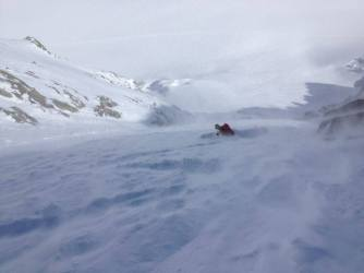 Mikko finding more good snow with the spindrift increasing