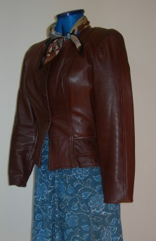 learher jacket & blue silk scarf