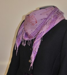 Navy jacket and lilac scarf