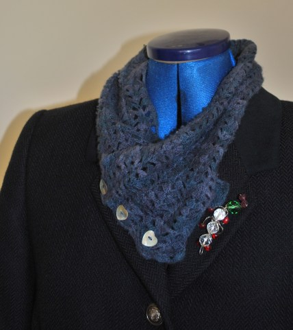 navy jacket and crochet scarf