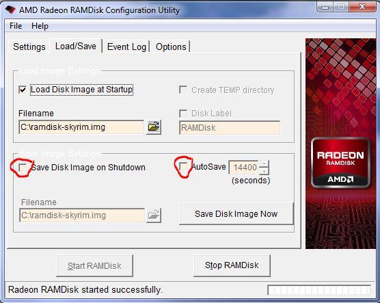 AMD Radeon RAMDisk configuration