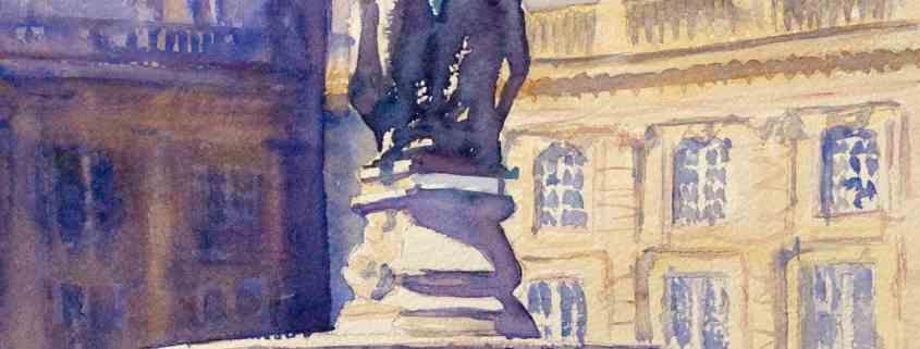 bavards_de_la_bourse, aquarelle de joel Tenzin, watercolor Joel Tenzin